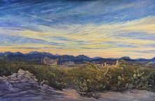 Sunrise Wakes the Ruins, large oil painting by Big Bend Artist Lindy C Severns, Old Spanish Trail Studio, Fort Davis, TX. Terlingua Ghost Town at dawn