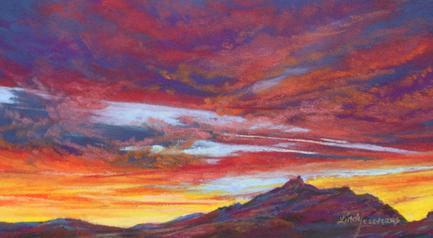 "Skyscape miniature pastel painting, ""Lighting the Desert Night"" 5.5"" x 10"" sunset from Terlingua TX"