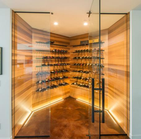 clear vertical grain Western Red Cedar lines this custom wine cellar