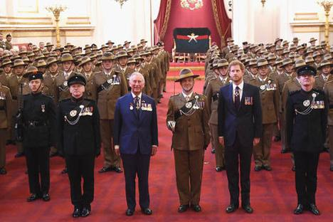 Gurkhas at Buckingham Palace with HRH Prince Charles and Prince Harry