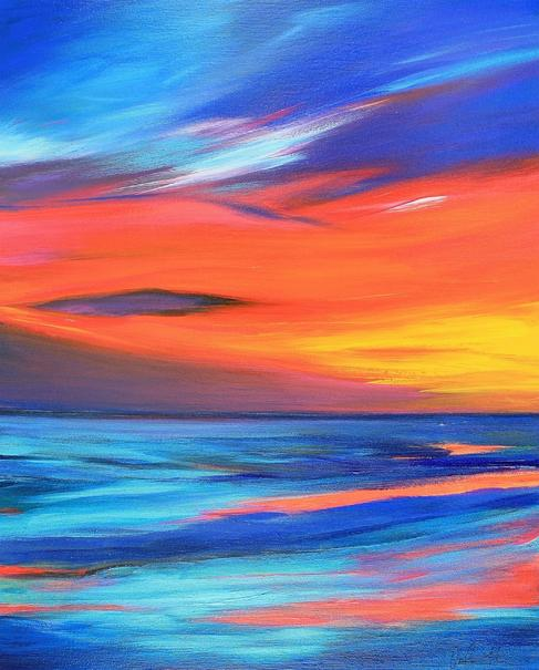 Fire Sky 50x40cm Acrylic on Canvas. Seascape Painting by Orfhlaith Egan. Buy Original.