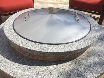 "alt=""stainless steel conical fire pit cover"""