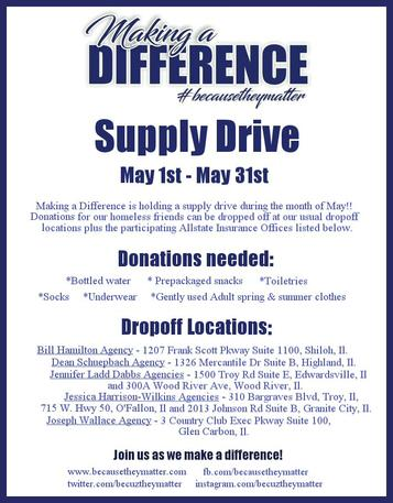 Allstate Insurance Supply Drive