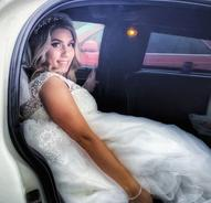Bride in White NYC Limo