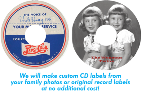 Custom CD labels included at no cost.