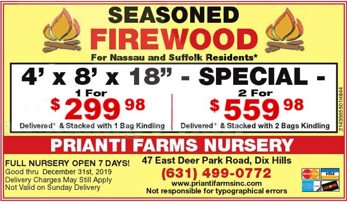 Prianti Firewood Bulk Seasoned Kindling Delivery Special Sale Long Island Suffolk Nassau
