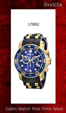 Watch Information Brand, Seller, or Collection Name Invicta Model number 17882 Part Number 17882 Model Year 2011 Item Shape Round Dial window material type Synthetic sapphire Display Type Analog Clasp Buckle Case material Stainless steel Case diameter 47 millimeters Case Thickness 18 millimeters Band Material Polyurethane Band length Men's Standard Band width 25 millimeters Band Color Black Dial color Blue Bezel material Stainless steel Bezel function Unidirectional Calendar Date Special features measures-seconds, Luminous, Chronograph Item weight 1.1 Pounds Movement Swiss quartz Water resistant depth 660 Feet
