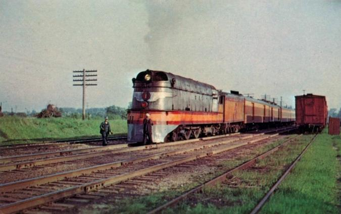 Milwaukee Road class A No. 1 pauses near Milwaukee in 1951.