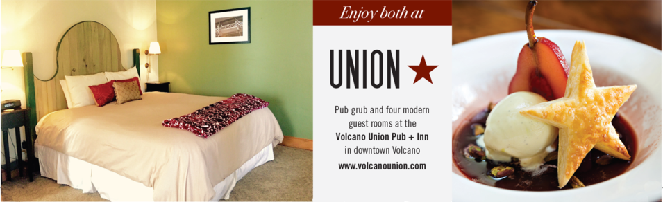 The Volcano Union is a casual neighborhood pub and four-room inn in downtown Volcano.