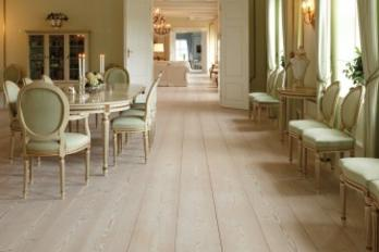Elegant hardwood floors in a dining area