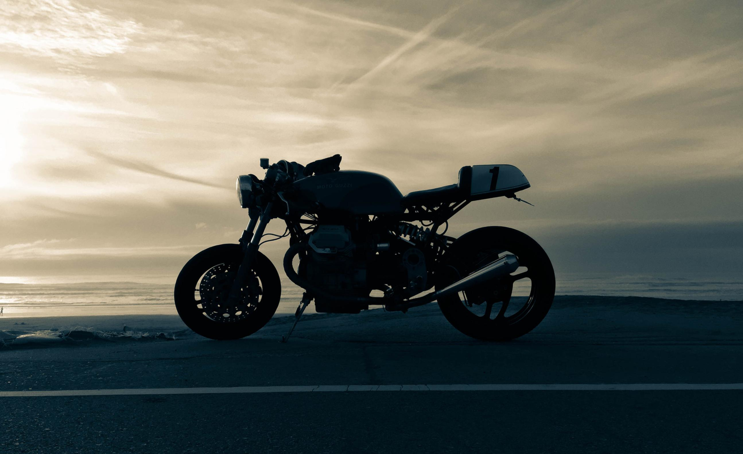 sunset contrast custom cafe racer motorcycle