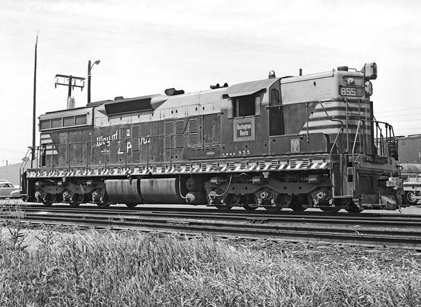 Fort Worth and Denver EMD SD7 Diesel-Electric Road Switcher No. 855 at Hodges, Texas, February 25, 1971. Photo by Everett L. DeGolyer, Jr., SMU Digital Library.