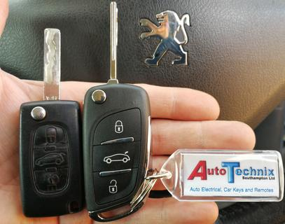 Chrome remote flip key upgrade for Peugeot car keys