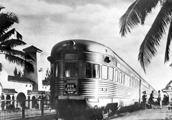 The tavern-lounge-observation car Lake Worth brings up the rear of the Dixie Flagler in Hollywood, Florida in 1941.
