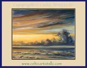 "​""Sunrise over St. George Island (Florida)"". Artist: Pam Hartford. 8""x10"", 11""x14"", 8""x10"" Pastels. December, 2016. (CA # 20049). SOLD: Commission, Private Collection. E-mail Pam for pricing for prints or commissioning an original landscape."
