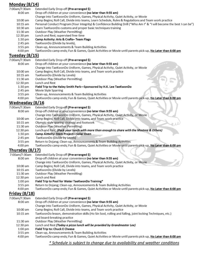 Summer Camp - Sample Schedule