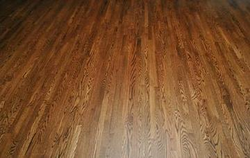 Solid Red Oak Hardwood flooring stained and finished