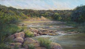 Crossing At Dawn, Texas landscape painting by Lindy Cook Severns, Paluxy River sunrise