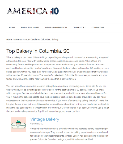 Vintage Bakery on America Top 10