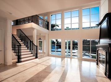 Living Room and Fireplace inside a Custom Built Home in South Florida