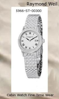 Product Specifications Watch Information Brand, Seller, or Collection Name Raymond Weil Model number 5966-ST-00300 Part Number 5966-ST-00300 Item Shape Round Dial window material type Anti reflective sapphire Display Type Analog Clasp Fold-Over Clasp with Double Push-Button Safety Case material Stainless steel Case diameter 28 millimeters Case Thickness 6 millimeters Band Material Stainless steel Band length Women's Standard Band width 15 millimeters Band Color Silver Dial color White Bezel material Stainless steel Bezel function Stationary Calendar Date Special features date located at 3 o'clock, black roman numeral hour markers Item weight 16 Ounces Movement Swiss quartz Water resistant depth 165 Feet