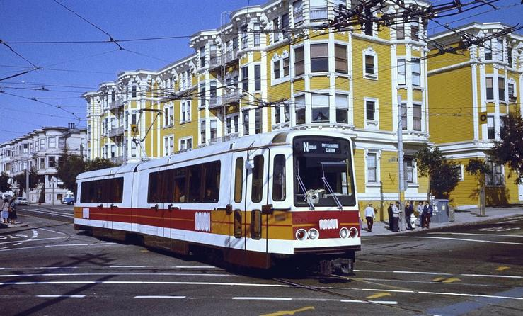 A Boeing Vertol USSLRV in service for the San Francisco Municipal Railway in 1980, on the then-newly opened Muni Metro.