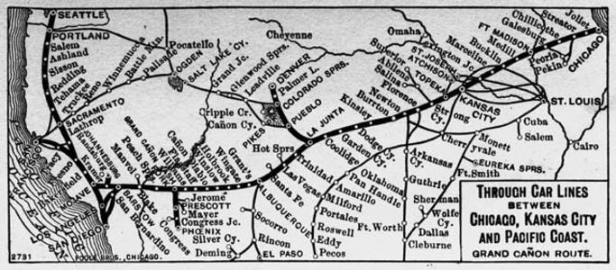 A map depicting the Grand Canyon Route of the Atchison, Topeka & Santa Fe Railway circa 1901.