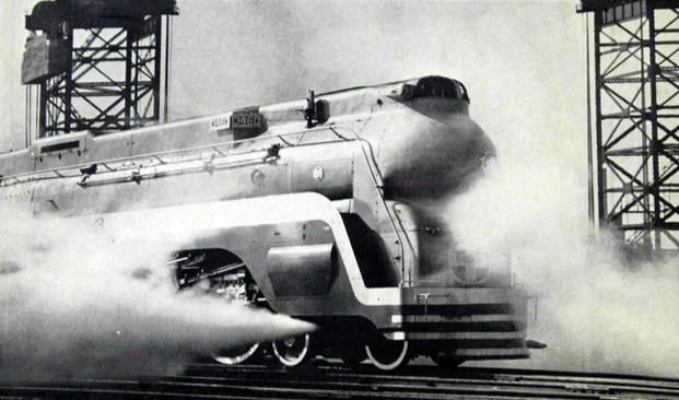 "Santa Fe's streamlined steam engine No. 3460, known as the ""Blue Goose"", provides the power for the Chief, circa 1938."