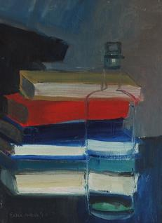 Bottle Against Books by Brian Ballard RUA