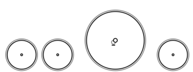 A schematic drawing of the 4-2-2 steam locomotive wheel arrangement.