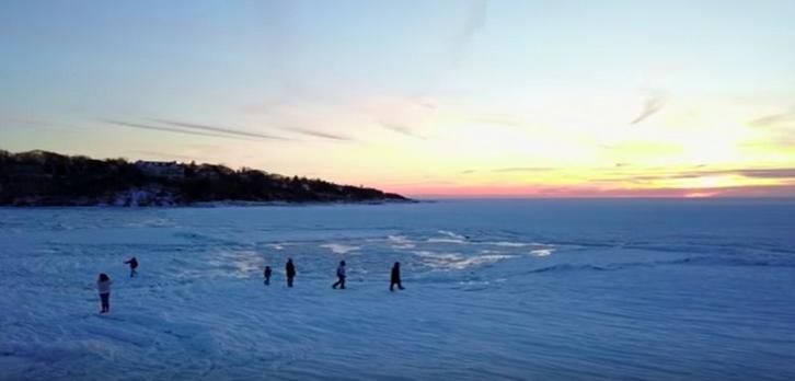 Surreal Drone Visual of a Frozen Beach in Massachusetts