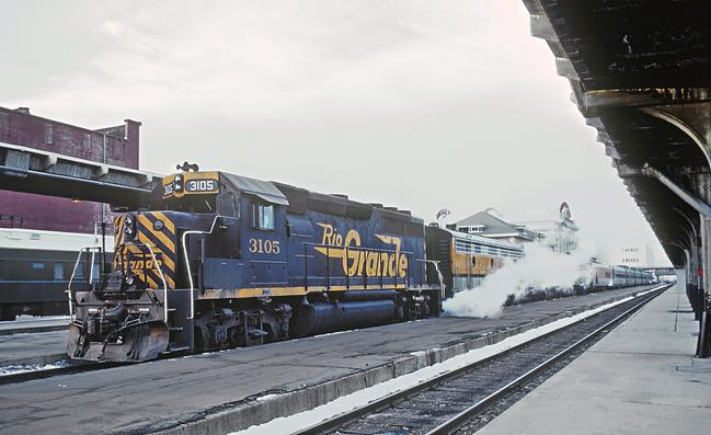 D&RGW GP40-2 No. 3105 with the Rio Grande Zephyr at Union Station, Denver, Colorado in February 1980. Photo by Roger Puta.