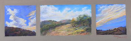 Morning, Noon and Night on the Ranch, a miniature plein air triptych by Texas painter Lindy Cook Severns, Old Spanish Trail Studio, Fort Davis TX