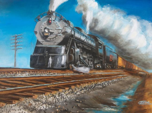 steam train locomotive painting Burlington CB&Q