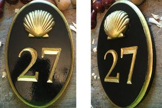 Oval Number carved sign for customer in connecticut