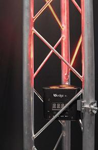 Truss section of an aluminum goal post for chauvet lighting system.
