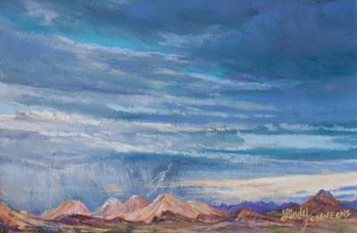 "Skyscape, ""IIluminating the Desert"" 4"" x 6"" miniature pastel original wall art by Big Bend Artist Lindy Cook Severns"