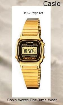 Watch Information Brand, Seller, or Collection Name Casio Model number LA670WGA-1DF Part Number LA670WGA-1DF Model Year 2013 Item Shape Round Dial window material type Mineral Display Type Digital Clasp Fold over clasp Case material Stainless steel Case diameter 25 millimeters Case Thickness 5 millimeters Band Material Stainless steel Band length womens Band width 10 millimeters Band Color Gold Dial color Black Bezel material Stainless steel Bezel function Stationary Calendar Perpetual calendar Special features measures-seconds, Luminous Item weight 27.22 Grams Movement Quartz Water resistant depth 30 Meters