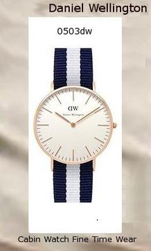Product Specifications Watch Information Brand, Seller, or Collection Name Daniel Wellington Model number 0503DW Part Number DW00100031 Model Year 2014 Item Shape Round Dial window material type Mineral Display Type Analog Clasp Buckle Metal stamp Stainless steel Case material Stainless steel Case diameter 36 millimeters Case Thickness 6 millimeters Band Material Nylon Band length Women's Standard Band width 18 millimeters Band Color multi Dial color White Bezel material Stainless steel Bezel function Stationary Calendar Date Special features Water resistant 3ATM Item weight 2.40 Ounces Movement Quartz Water resistant depth 99 Feet,daniel wellington