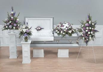 NB-AFD-CTT48 Coordinated Floral display as pictured. (5 pieces) Pedestal, Vase, Lid, Caket, Standing $615.00