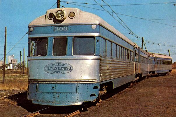 ITR Number 300, one of three Illinois Terminal Railroad streamliners, circa 1950s.