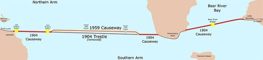 A map of the railroad causeway crossing the Great Salt Lake. The map shows past and present causeway parts, along with some geographical highlights of the area.