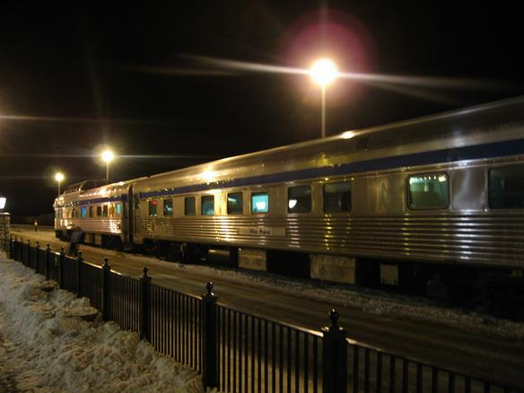 The Canadian during a night stop in Jasper, AB. In the foreground is the sleeping car Allan Manor.