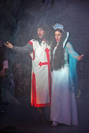 Sir Galahad (Benedict Hurley) and the Lady of the Lake (Ros Jones-Griffiths)