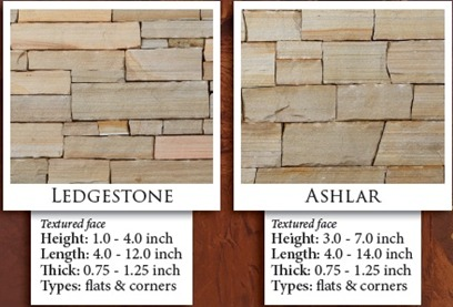Stoneyard Rustic Tan Thin Veneer Sizes & Dimensions