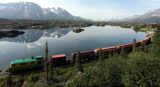 White Pass & Yukon Route train in the Fraser BC area north of Skagway Alaska. Photo by Tom Pickerel