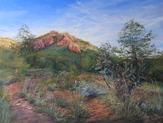 High Desert Summer Splendor, original pastel landscape of the Texas mountains by Lindy Cook Severns, Old Spanish Trail Studio, Fort Davis, TX