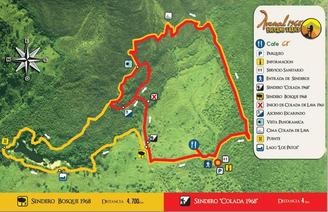 Arenal 1968 Hiking Trails Map