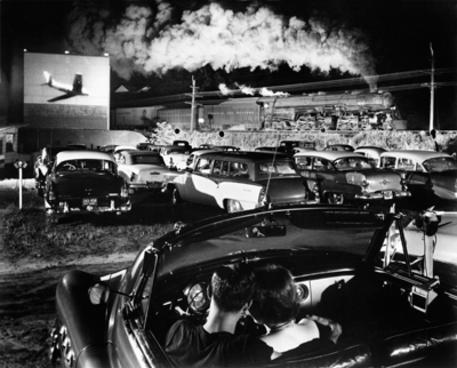 Hotshot Eastbound (1956), taken at the drive-in theater in Iaeger, West Virginia, was used in Link's book Steam, Steel & Stars. This is one of Link's best-known photographs.