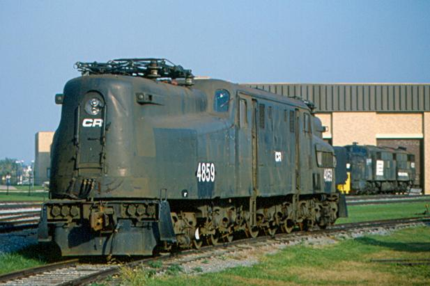 PRR 4859 at the Railroad Museum of Pennsylvania in Strasburg, Pennsylvania, still in its Conrail paint scheme. October 3, 1982.